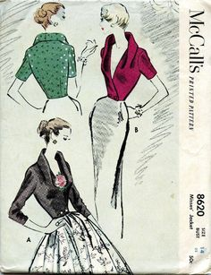 Vintage McCalls 50's Glamorous Evening Jacket Pattern #8620 from 1951 ~ Size 14