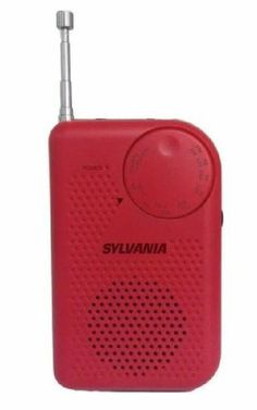 Radios, Boomboxes, CD Players, and Accessories Sylvania AM FM Compact Portable Personal Radio Red Speaker and Headphone Jack  #Sylvania
