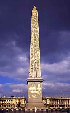L'Obélisque de Louxor, Paris. A 23 metres (75 ft) high Egyptian obelisk standing at the center of the Place de la Concorde in Paris. It is over 3,000 years old and was originally located at the entrance to Luxor Temple, in Egypt.