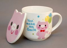"""You make me smile"" Piggy Mug with Piggy-Shaped Lid"