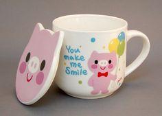 """""""You make me smile"""" Piggy Mug with Piggy-Shaped Lid"""