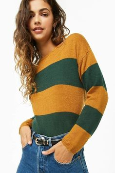 Striped Ribbed Sweater in Gold and Green - Forever 21 ad 9b1a0d7c1f6a2