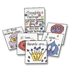 Thoughts and Feelings Sentence Completion Card Games. Helps children work through many issues such as trauma, grief, anger, fear, and more.