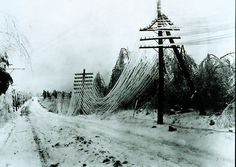 Power and telephone lines sagging after heavy icestorm.