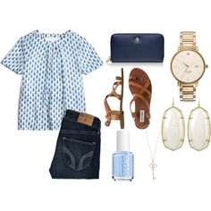 blue & gold #2 by okieprep on Polyvore featuring J.Crew, Hollister Co., Steve Madden, Tory Burch, Tiffany & Co., Kate Spade, Kendra Scott, Essie and preppy