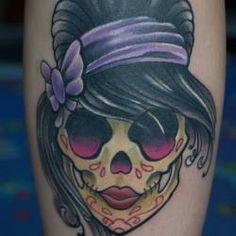 girl rockabilly skull tattoo maybe better than a sugar skull. Black Bedroom Furniture Sets. Home Design Ideas