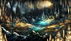 Watery Cave - Pictures & Characters Art - Dragons Crown