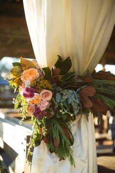 Lush tie backs for barn door draping of magnolia, cypress, seeded eucalyptus… Wedding Mandap, Garland Wedding, Autumn Wedding, Rustic Wedding, Flower Decorations, Wedding Decorations, Wedding Ideas, Floral Wedding, Wedding Flowers