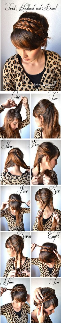 How to create a hairband with your own hair : 2 braids and a twist ; and an updo. // Comment créer un headband avec vos propres cheveux : 2 tresses et une vanille ; Un look qui se termine en coiffure attachée.