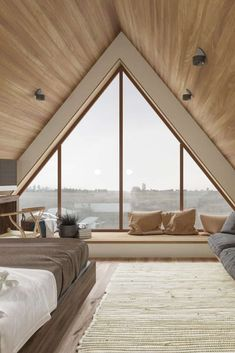 Bedroom with Triangle Window - Inside the House CZ Downstairs by Ruda Studio Minimalist House Design, Minimalist Home Decor, Minimalist Interior, Minimalist Bedroom, Home Room Design, Dream Home Design, Home Interior Design, Stylish Interior, Attic House Design