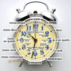 Telling time in Italian. Italian Grammar, Italian Vocabulary, Italian Phrases, Italian Words, Italian Language, German Language, Japanese Language, Italian Lessons, French Lessons