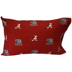 """Alabama Crimson Tide Solid Pillow Cases From College Covers Standard Pillowcase by College Covers. $9.95. Pre-packaged case. 200 thread count for a softer feel. Machine wash warm with like colors. Printed team graphics. Measures approximately 20"""" x 30"""". Show off your team spirit even when you're asleep with these officially licensed NCAA® team pillow cases from College Covers. The cases are decorated with school logos and constructed from 100% cotton sateen fabric for sof..."""