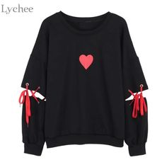 Lychee Spring Autumn Women Sweatshirt Heart Print Lace Up Casual Loose Long Sleeve Pullover Cute Tracksuit - Lychee Spring Autumn Women Sweatshirt Heart Print Lace Up Casual Loose – eefury Source by x_angeliina_x - Teen Fashion Outfits, Edgy Outfits, Mode Outfits, Cute Casual Outfits, Womens Fashion, Fashion Dresses, Kawaii Fashion, Cute Fashion, Lolita Fashion