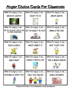 Free Anger Choice Cards for the Classroom - Choices for What to Do When You're Angry - Anger Management Behavior Plans, Classroom Behavior Management, Student Behavior, Behaviour Management, Anger Management Kids, Coping Skills, Social Skills, Emotional Awareness, Autism Awareness