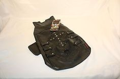 Bret Michaels Black Pleather Cross Skull Rock n Roll Dog Jacket Vest Size LARGE #dogs
