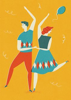 Naomi Wilkinson The Dancers Card by Lagom Design People Illustration, Character Illustration, Illustration Art, Naomi Wilkinson, Lagom Design, Yellow Art, Illustrations Posters, Drawings, Artwork