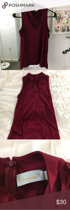 Maroon Faux-Suede Choker Tank Cute date night top! Never worn! Beautiful maroon suede fabric (beyond soft) 😍 Veronica M Tops