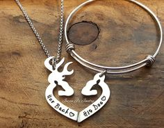 Her Buck His Doe Necklace & Bangle Gift Set, Gift Set for Couples, His and Hers Deer Necklace and Bangle, His Doe Bangle, Her Buck Necklace by JazzieJsJewelry on Etsy