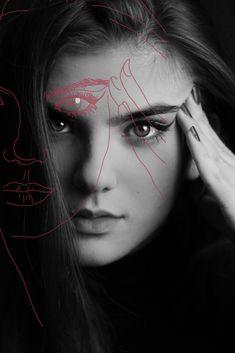 outlined close-up portrait Close Up Portraits, Outline, Halloween Face Makeup, Shots