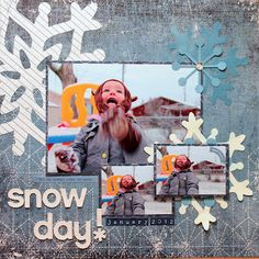 """Scrabook Layout """"Snow Day"""" by Authentique Paper DT member Heather Conklin"""