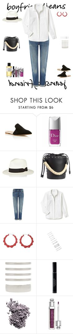 """""""Borrowed From The Boys:Boyfriend Jeans"""" by sereneowl ❤ liked on Polyvore featuring Malone Souliers, Christian Dior, Sensi Studio, J.W. Anderson, Levi's, Lacoste and Forever 21"""