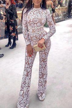 Sexy Fashion White Langarm-Overall White Long Sleeve Jumpsuit, Jumpsuit With Sleeves, Long Sleeve Jumpsuits, Jumpsuit Outfit, Casual Jumpsuit, Pant Jumpsuit, Formal Jumpsuit, Jumpsuit Pattern, Types Of Fashion Styles