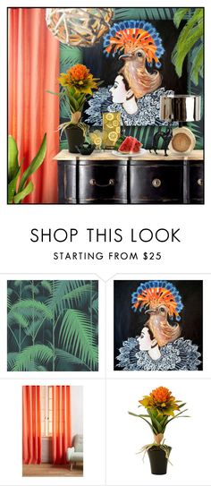 """""""Tropical Glam"""" by retrocat1 ❤ liked on Polyvore featuring interior, interiors, interior design, home, home decor, interior decorating, Cole & Son, Ashley Longshore, Anthropologie and MCM"""