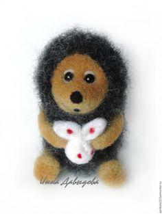 Купить Валяная игрушка Ёжик в тумане (маленький). Игрушка из шерсти. - темно-серый, пушистый, маленький