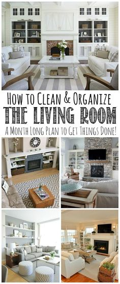 Follow this month long plan to clean and organize the living room from top to bottom! Free printables included.