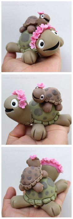 Mama Schildkröte und Baby
