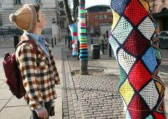 Artists took to Mare Street late on February 19 to wrap trees in colourful 'jumpers'. Photo credit: Tim Walker | street tree art - Google Search