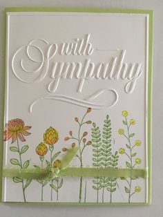 Find this Pin and more on Condolence Card. SU Flowering Fields with Darice embossing folder Mehr Scrapbooking, Scrapbook Cards, Penny Black, Stamping Up Cards, Rubber Stamping, Embossed Cards, Get Well Cards, Tampons, Cool Cards