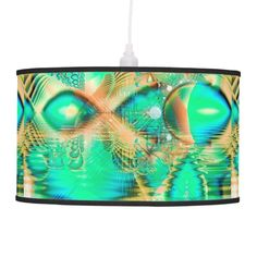 Golden Teal Peacock, Abstract Copper Crystal Hanging Pendant Lamp