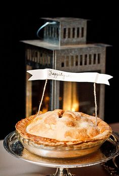 Ambiance~Distinctive Weddings and Events Wedding Pie With Banner Topper Photo C/O brides.com  (410) 819-0046
