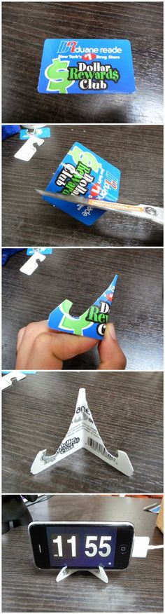 Credit Card iPhone Stand. You could even decorate it, cover it with some scrapbooking paper :)