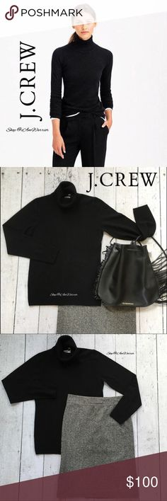 "J. Crew NWT black cashmere turtleneck J. Crew 100% cashmere black turtleneck sweater,  Approximately 27"" long and 19"" across bust. Shown here with my Gap pencil skirt & Victoria's Secret fringe bag sold separately. NWT retailed at $158, selling at $58 off so price is firm please. Please read my bio regarding closet policies prior to any inquiries. J. Crew Sweaters Cowl & Turtlenecks"