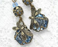 Sapphires and Dragonflies  Blue Glass by MorningGloryDesigns,