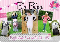 Nähanleitungen Mode - Ebook Big Bijou - Damen Hoodie von Gr. 34 bis 48 - ein Designerstück von rosarosa-shop bei DaWanda