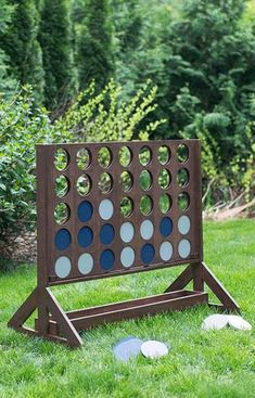Best DIY Backyard Games - DIY Backyard Game Four In A Row - Cool DIY Yard Game Ideas for Adults, Teens and Kids - Easy Tutorials for Cornhole, Washers, Jenga, Tic Tac Toe and Horseshoes - Cool Projects for Outdoor Parties and Summer Family Fun Outside Outdoor Wedding Games, Diy Outdoor Weddings, Outdoor Fun, Outdoor Decor, Wedding Yard Games, Outdoor Parties, Outdoor Games For Adults, Outdoor Jenga, Outdoor Yard Games