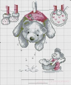 Embroidery and cross stitch patterns to complimentary: August 2013 Cross Stitch For Kids, Cross Stitch Baby, Cross Stitch Animals, Cross Stitch Charts, Cross Stitch Designs, Cross Stitch Patterns, Hand Embroidery Designs, Embroidery Patterns, Cross Stitching