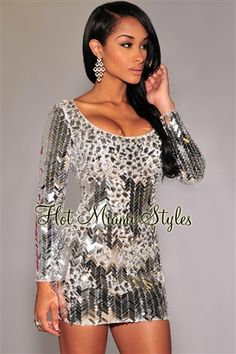 Silver Mirrored Sequined Rhinestones Embellished Dress