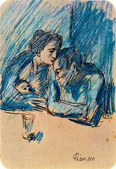 Man and woman with child in cafe (Picasso 1903)