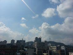 blue sky cloud in seoul.