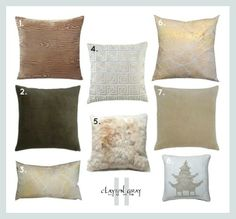 Collection of assorted complementing pillows for bed, sofa or chair.  Neutral metallic tones of tan, cream, brown, champagne, light blue, gold and silver.  Also, FUR and VELVET!  Featuring: Jonathan Adler, Made Goods, Aviva Stanoff (Dior) and Kevin O'Brien Studio.  GET THE LOOK!