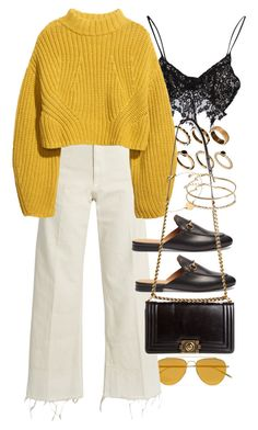 """""""Untitled #10461"""" by nikka-phillips ❤ liked on Polyvore featuring Tomas Maier, ASOS, Rachel Comey, For Love & Lemons, H&M, Gucci, Chanel and Miriam Merenfeld"""