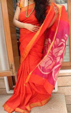 Orange Matka Saree with Zari Border – EthniQ