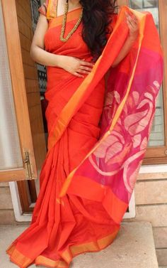 Orange Matka Saree with Zari Border – EthniQ