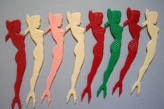 8 Vintage Plastic Mermaid/ Party Girl Swizzle Sticks/ Cocktail Forks #Unbranded
