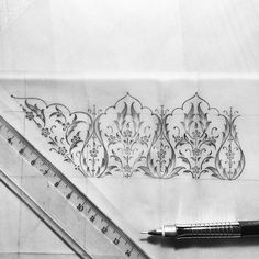 Drawing Process on Behance Textile Pattern Design, Pattern Art, Textile Patterns, Islamic Art Pattern, Arabic Pattern, Middle Eastern Art, Arabesque Pattern, Persian Motifs, Drawing Process