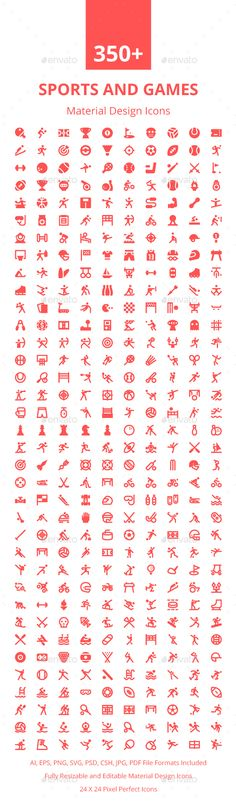 350+ Sports and Games Material Icons